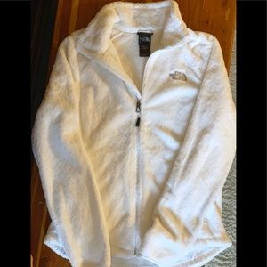 North Face White Fuzzy Zip Up